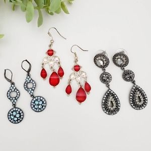 Sparkly Dangle Earrings Set of 3 Blue Black & Red